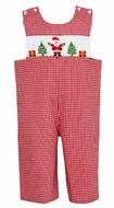 Claire & Charlie Boys Red Gingham Smocked Santa Claus Longall