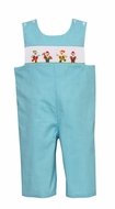 Claire & Charlie Boys Turquoise Micro Check Smocked Snow White's Dwarves Longall