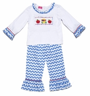 Claire & Charlie Girls Blue Chevron Ruffle Pants with Smocked School Crayons / Apples Shirt