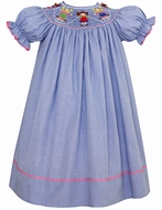 Claire & Charlie Girls Blue Micro Check Smocked Jump Rope Girls Dress - Bishop