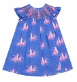Claire & Charlie Girls Blue / Pink Sailboats Print Smocked Dress