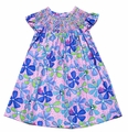 Claire & Charlie Girls Blue / Pink Summer Floral Smocked Dress