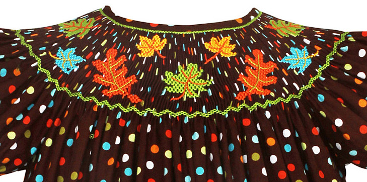 Smocked Fall Dresses Girls Thanksgiving smocked dress