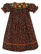 Claire & Charlie Girls Brown with Dots Smocked Fall Leaves Bishop Dress