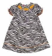 Claire & Charlie Girls Brown Zebra Print Smocked Orange Pumpkins Bishop Dress
