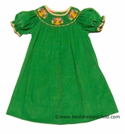 Claire & Charlie Girls Grass Green Corduroy Smocked Thanksgiving Turkey Gobble BISHOP Dress