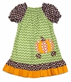 Claire & Charlie Girls Green Chevron / Orange Pumpkin Peasant Dress