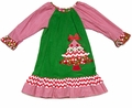 Claire & Charlie Girls Green Corduroy / Red Chevron Christmas Tree Ruffle Peasant Dress