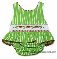 Claire & Charlie Girls Green Smocked Red Watermelons Swimsuit - ONE Piece