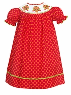 Claire & Charlie Girls Hot Pink / Orange Dots Smocked Turkeys Dress - Bishop