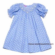 Claire & Charlie Girls Light Blue / White Polka Dots Smocked Daisy Bishop Dress