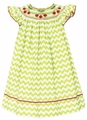 Claire & Charlie Girls Lime Green Chevron Smocked Red Cherries Bishop