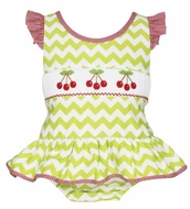 Claire & Charlie Girls Lime Green Chevron Smocked Red Cherries One Piece Swimsuit
