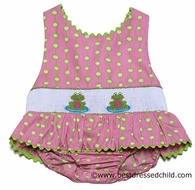 Claire & Charlie Girls Pink / Green Dots Smocked Frogs Swimsuit - ONE Piece