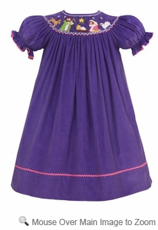 Claire Amp Charlie Girls Purple Corduroy Smocked Nativity