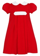 Claire & Charlie Girls Red Corduroy Christmas Float Dress with Tab