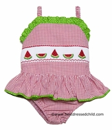 Claire & Charlie Girls Red Gingham Seersucker Smocked Watermelons Bathing Suit - One Piece