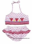 Claire & Charlie Girls Red Polka Dot Smocked Lobsters Swimsuit - Bikini