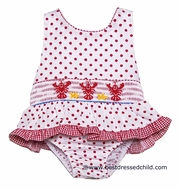 Claire & Charlie Girls Red Polka Dots Smocked Lobsters Swimsuit - One Piece