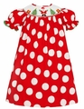 Claire & Charlie Girls Red / White Dots Smocked Santa Claus Bishop Dress