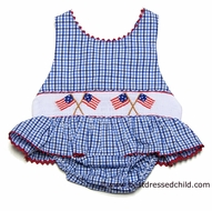 Claire & Charlie Girls Royal Blue Gingham Smocked Flag Swimsuit - ONE Piece