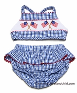 Claire & Charlie Girls Royal Blue Gingham Smocked Flags Swimsuit - BIKINI