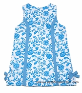 Claire & Charlie Girls Turquoise Blue Floral Toile Sleeveless Dresses