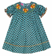 Claire & Charlie Girls Turquoise / Brown Dots Smocked Thanksgiving Turkey Bishop Dress