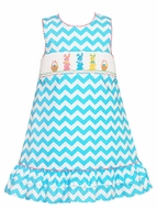 Claire & Charlie Girls Turquoise Chevron Smocked Colorful Easter Bunnies Ruffle Jumper Dress