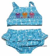 Claire & Charlie Girls Turquoise Circles Smocked Jelly Fish Swimsuit - BIKINI