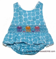 Claire & Charlie Girls Turquoise Circles Smocked Jellyfish Swimsuit - ONE Piece