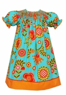 Claire & Charlie Girls Turquoise / Orange Fall Floral Sunflowers Smocked Bishop Dress