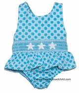 Claire & Charlie Girls Turquoise Polka Dot Smocked Starfish Swimsuit - One Piece