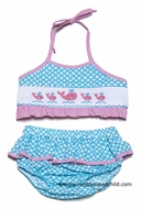 Claire & Charlie Girls Turquoise Smocked Pink Whale Bathing Suit - Bikini