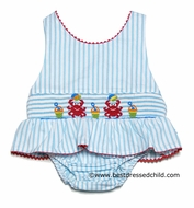 Claire & Charlie Girls Turquoise Stripe Smocked Crabs Bathing Suit - One Piece