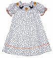 Claire & Charlie Girls White / Black Dots Smocked Halloween Kitty Cat Bishop Dress
