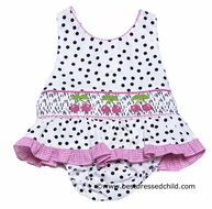 Claire & Charlie Girls White / Black Dots Smocked Pink Cherries Swimsuit - One Piece