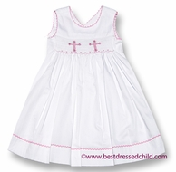 Claire & Charlie Girls White Pique Smocked Pink Cross Dress - Sleeveless