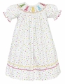 Claire & Charlie Girls White / Rainbow Color Polka Dots Smocked Cottontails Easter Bunny Dress