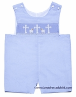 Claire & Charlie Infant Boys Blue Poplin Smocked Crosses / Lambs Shortall