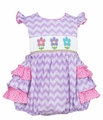 Claire & Charlie Infant Girls Lavender Chevron Smocked Spring Flowers Ruffle Bubble