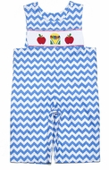 Claire & Charlie Infant / Toddler Boys Blue Chevron Smocked Red Apples / Crayon Box Longall