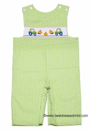 Claire & Charlie Infant / Toddler Boys Green Check Smocked Pumpkins / Tractor LONGALL