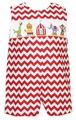 Claire & Charlie Infant / Toddler Boys Red Chevron Smocked Circus Jon Jon