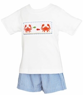 Claire & Charlie Infant / Toddler Boys Smocked Crabs Shirt with Blue Gingham Shorts