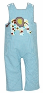 Claire & Charlie Infant / Toddler Boys Turquoise Gingham Applique Elephant Longall