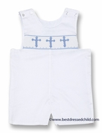 Claire & Charlie Infant / Toddler Boys White Pique Smocked Blue Crosses Shortall
