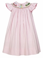 Claire & Charlie Infant / Toddler Girls Pink Seersucker Smocked Golf Theme Bishop Dress