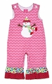 Claire & Charlie Infant / Toddler Girls Pink Chevron Holiday Snowman Ruffle Romper