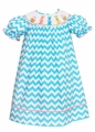 Claire & Charlie Infant / Toddler Girls Turquoise Chevron Smocked Colorful Easter Bunny Dress - Bishop